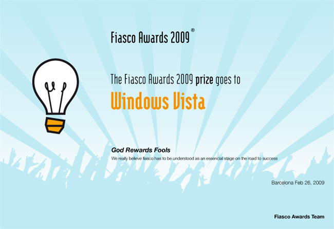 Fiasco Awards: Windows Vista considerado fiasco do ano Fiasco_awards_2009_vista1