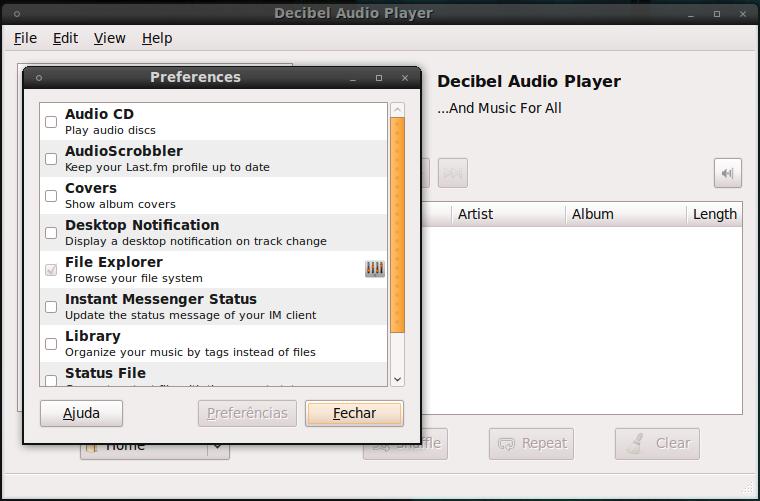 Decibel audio player plugin list