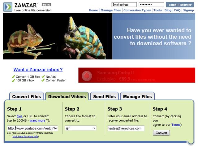 Zamzar, conversão de vídeos para os mais diversos formatos