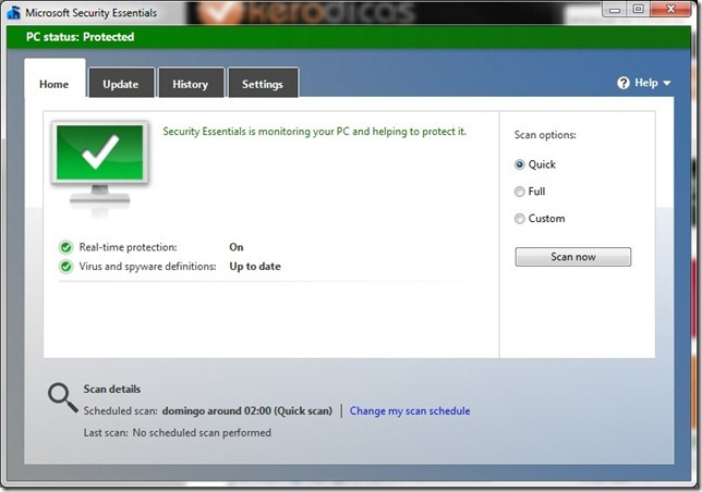 Microsoft Security Essentials Inicio
