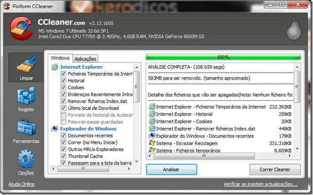 CCleaner 3.13.16 Limpeza