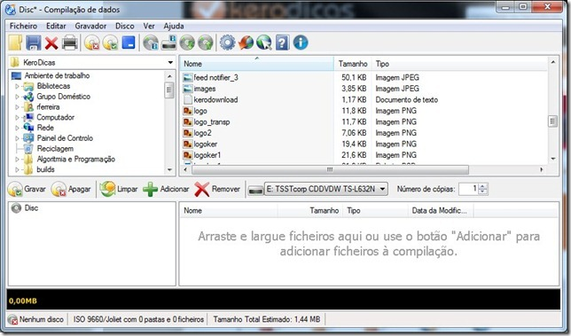 CDBurnerXP Disco Dados