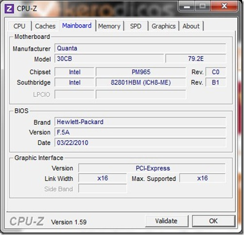 CPU-Z 1.59 Mainboard