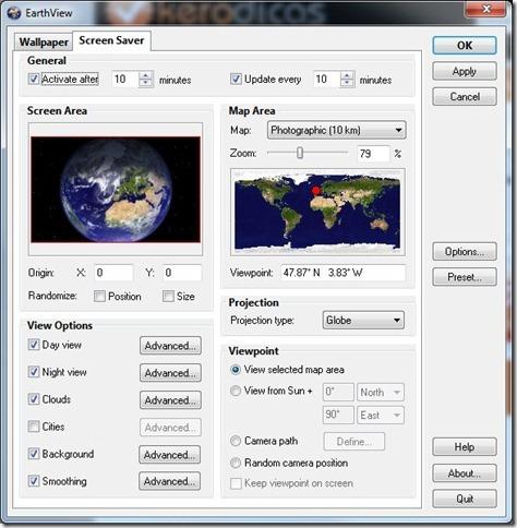 EarthView ScreenSaver Opções