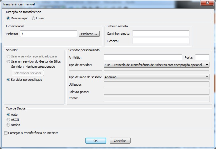 FileZilla Transferência Manual