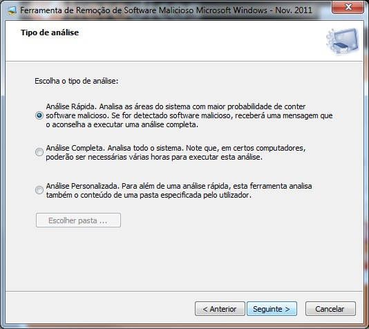 Microsoft Malicious Software Removal Tool 4.2 Tipo de Análise