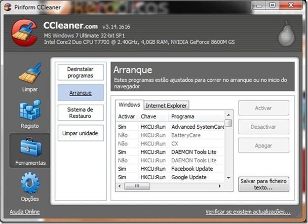 CCleaner 3.14 Arranque