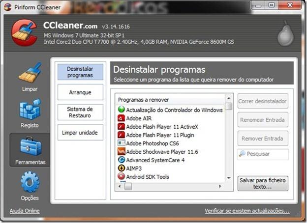 CCleaner 3.14 Ferramentas