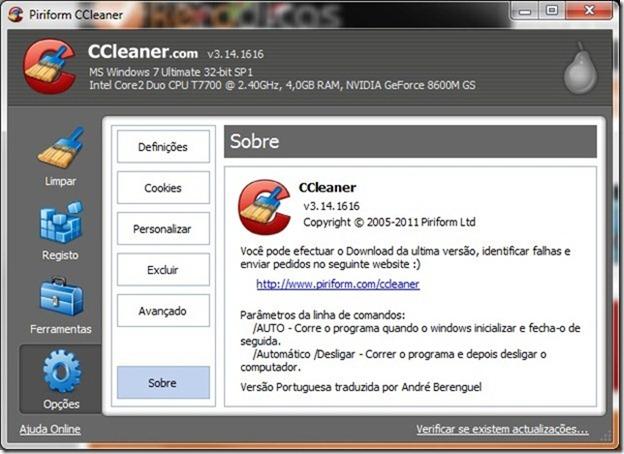 CCleaner 3.14 Opções