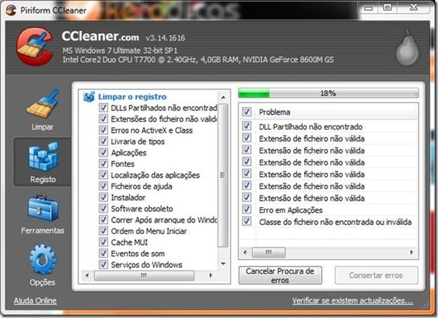 CCleaner 3.14 Registo