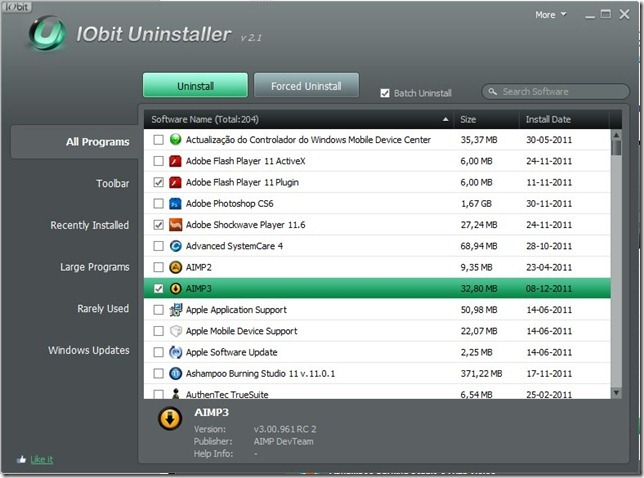 IObit Uninstaller 2.1 Selecção