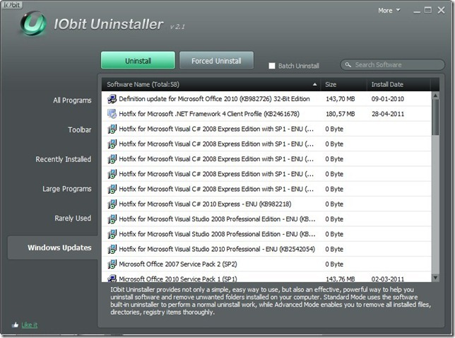 IObit Uninstaller 2.1 Windows Update