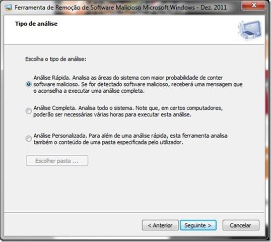 Microsoft Malicious Software Removal Tool 4.3 Opções Verificação