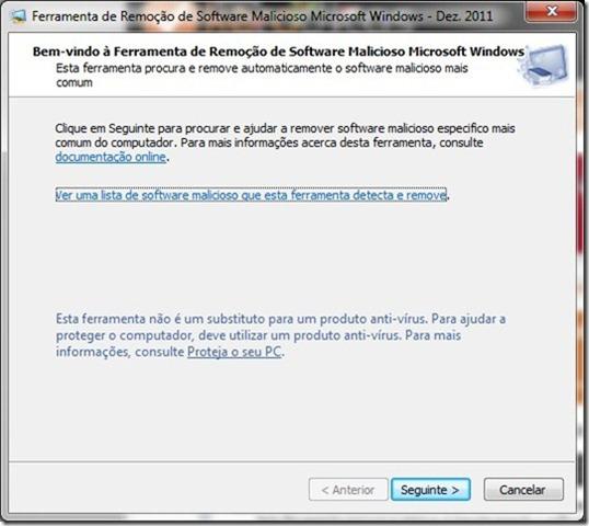Microsoft Malicious Software Removal Tool Inicio