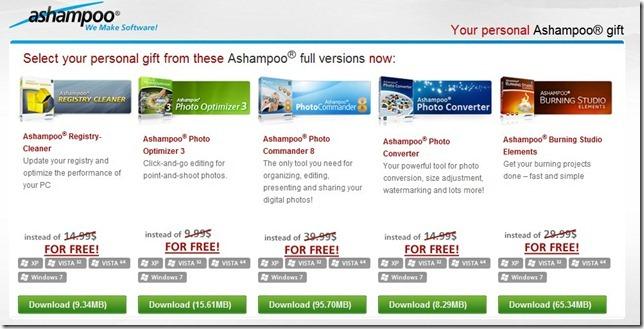 Oferta Ashampoo Página Downloads