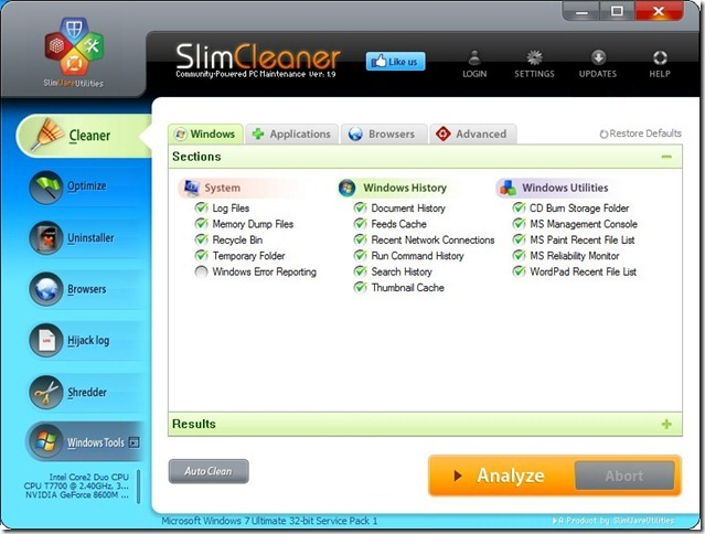 SlimCleaner 1.9 Cleaner