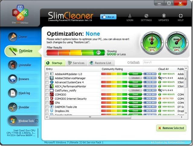 SlimCleaner 1.9 Optimize