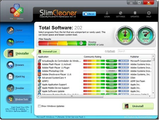 SlimCleaner 1.9 Uninstaller