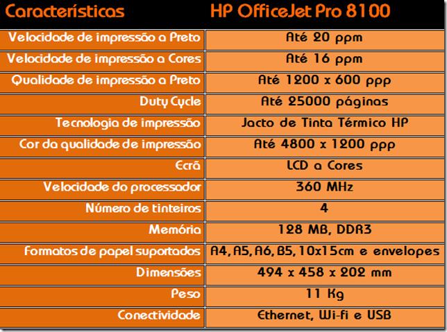 Caracteristicas da HP Officejet PRo 8100