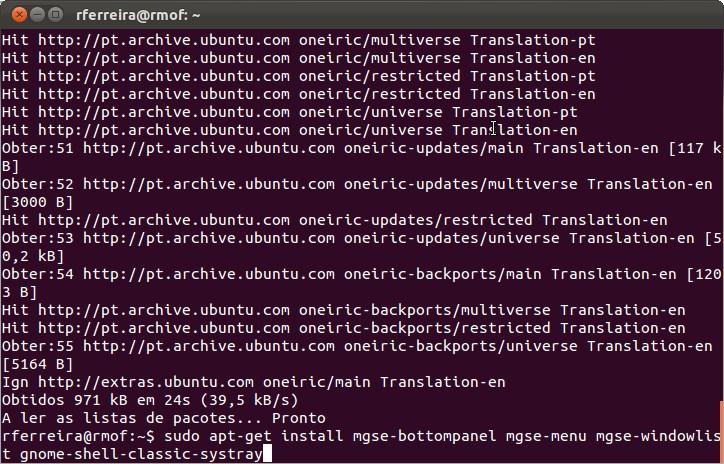 Instalação do Gnome 3 no Ubuntu 11.10