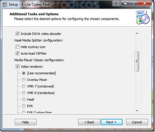 K-Lite Codec Pack Full Opções
