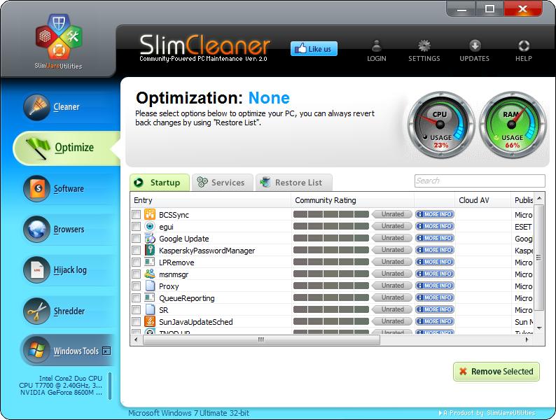 SlimCleaner Optimize
