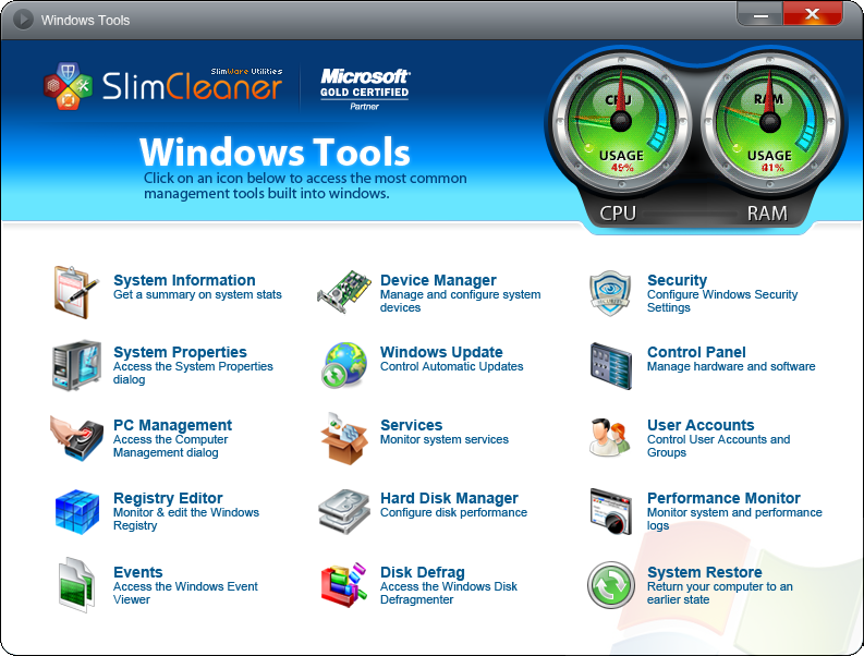 SlimCleaner Windows Tools