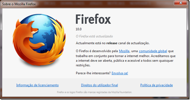 Mozilla Firefox 10 versão
