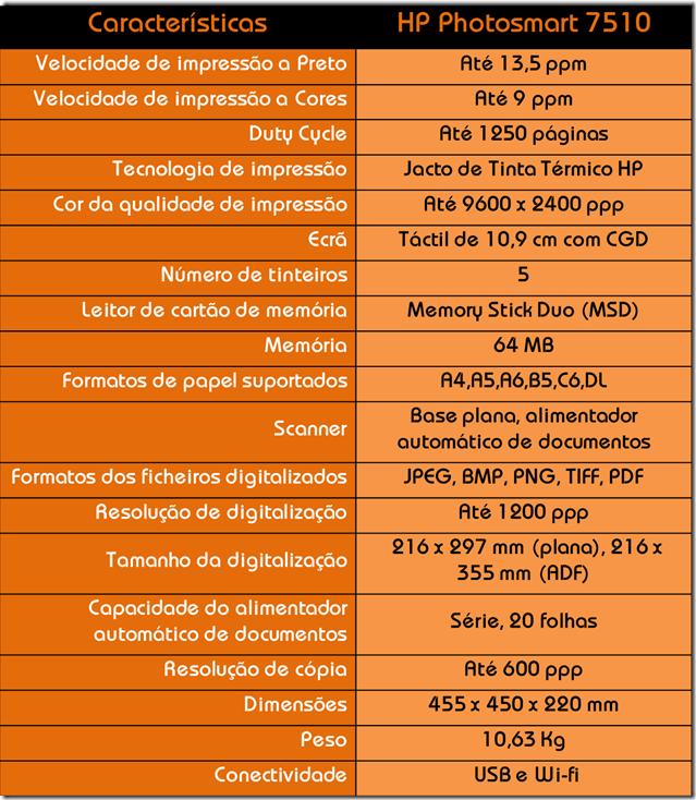Tabela das Características HP Photosmart 7510